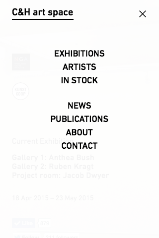 C&H art space - menu - smartphone
